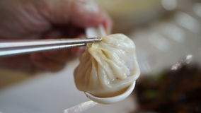 Steam Soup Dumplings, Xiaolongbao. Juicy Chinese dim sum. Eating in the restaurant. Steam Soup Dumplings, Xiaolongbao. Juicy Chinese dim sum stock video footage