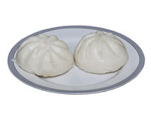 Steam stuffed bun on  plate isolation Royalty Free Stock Photo