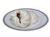 Steam stuffed bun on  plate isolation Stock Photos