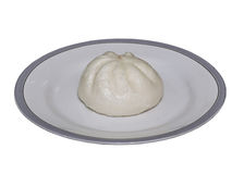 Steam stuffed bun on  plate isolation Stock Images