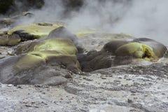 Steam and sulphur deposits Stock Photos