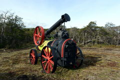 Steam thresher on the Land of Fire. Royalty Free Stock Images