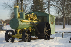 Steam tractor. Steam powered tractor restored and displayed in a park Stock Image