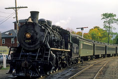 Steam Train Locomotive and Passenger Cars Royalty Free Stock Images