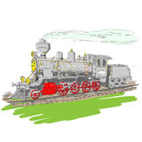 Steam train. Vector illustration of an old steam engine Stock Photography