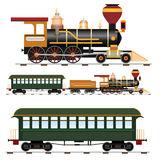 Steam train. Retro steam train with coach isolated on white background vector illustration