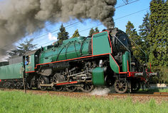 Steam train. Old steam train passing by, on special occasions you can make a ride with those old trains and enjoy the flavours of burnt coal Stock Photo
