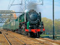 Steam train. Old steam train passing by Stock Photography