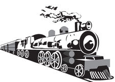 Steam train. Black&white illustration of a steam train isolated on white background Stock Image