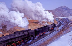 Steam train. Running through the mountains at chifeng, neimenggu, china stock images