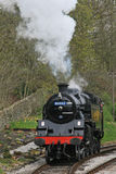 Steam train. A steam train pulling up against the platform Stock Image