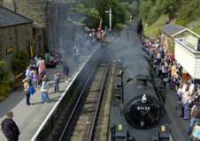 Steam Train arriving at Goathland Royalty Free Stock Photos
