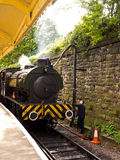 Steam train arriving. At the station at East Lancashire 40's weekend, Lancashire, UK stock image