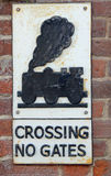 Steam train barriers crossing sign Stock Image