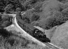 Steam Train in Bronte Country. Steam train near Haworth, West Yorkshire, England Royalty Free Stock Photos