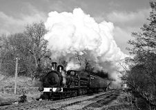 Steam Train in Bronte Country (vintage). Steam train near Haworth, West Yorkshire, England Royalty Free Stock Images