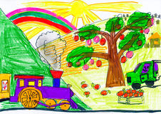 Steam train and car on countryside. child drawing. Royalty Free Stock Images