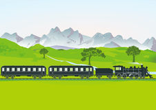 Steam train with carriages. Illustration of steam train traveling through countryside with meadows and trees and mountain backdrop Stock Images