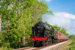 Steam Train Chuffing Past Tress. A large green steam engine 46115 Royal Scots class The Scots Guardsman puffs past an attractive treeline with a rake of red Royalty Free Stock Photo
