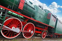 Steam train. Close up shot of the old locomotive Royalty Free Stock Photos