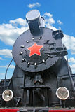 Steam train. Close up shot of the old Soviet locomotive Royalty Free Stock Images