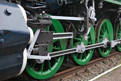 Steam train. Close up shot of wheels of the old locomotive Royalty Free Stock Photography