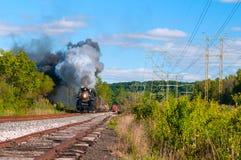 Steam train coming stock photo