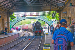 Steam train coming into Pickering Station Royalty Free Stock Photo