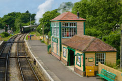 Steam train at corfe castle station Stock Image
