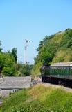 Steam train at Corfe Railway Station. stock photos