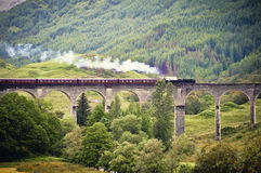 Steam train crossing a viaduct Royalty Free Stock Image
