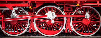 Steam Train, Dampflock Rad. Tires of a steamtrain in red and black Royalty Free Stock Photo