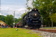Steam train departing Royalty Free Stock Photo