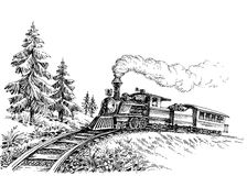 Steam train. Drawing for retro style presentations royalty free illustration