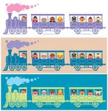 Steam Train Driver. Steam train full of cartoon characters. It is in 3 color versions Royalty Free Stock Image