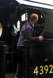 Steam Train Driver on Keighley and Worth Valley Railway. Yorkshire, England, UK, Stock Photo