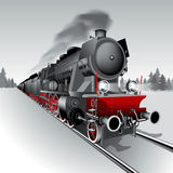 Steam train. Steam engine locomotive train. Detailed vector Illustration Royalty Free Stock Photos