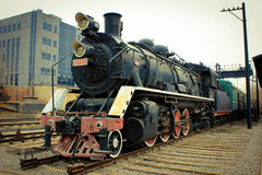 Steam train. The steam engine in the park Stock Image