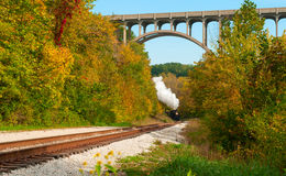 Steam train far off Stock Image