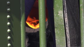 Steam train fire burning 4K stock video