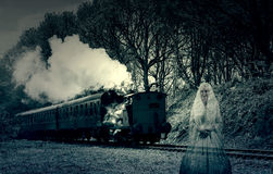 Steam Train Ghost. Photo Of Steam Train With Ghost Royalty Free Stock Images