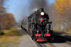 Steam train goes fast. Royalty Free Stock Photos