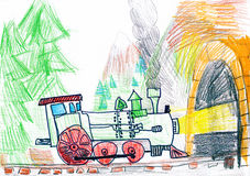 Steam Train Goes To Subway. Child S Drawing. Stock Photos