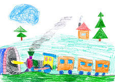 Steam Train Goes To The Subway. Child S Drawing. Stock Photos