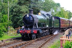 Steam train, Hampton Loade. Great Western Railways 2-8-0 heavy goods locomotive number 2857 arriving Great Western railway station, Hampton Loade, Shropshire Royalty Free Stock Photos