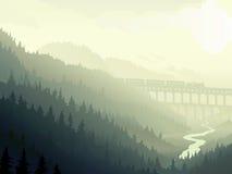 Steam Train In Wild Coniferous Wood In Morning Fog. Stock Photo