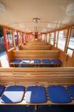 Steam train inside car pasenger benches Stock Images