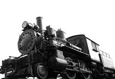 Steam Train Isolated. Vintage steam train on white background stock photos