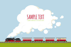Steam Train in Landscape with copy space vector template Stock Photos