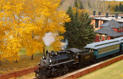 Steam Train  and Langdon Station at Heritage Park Stock Photos
